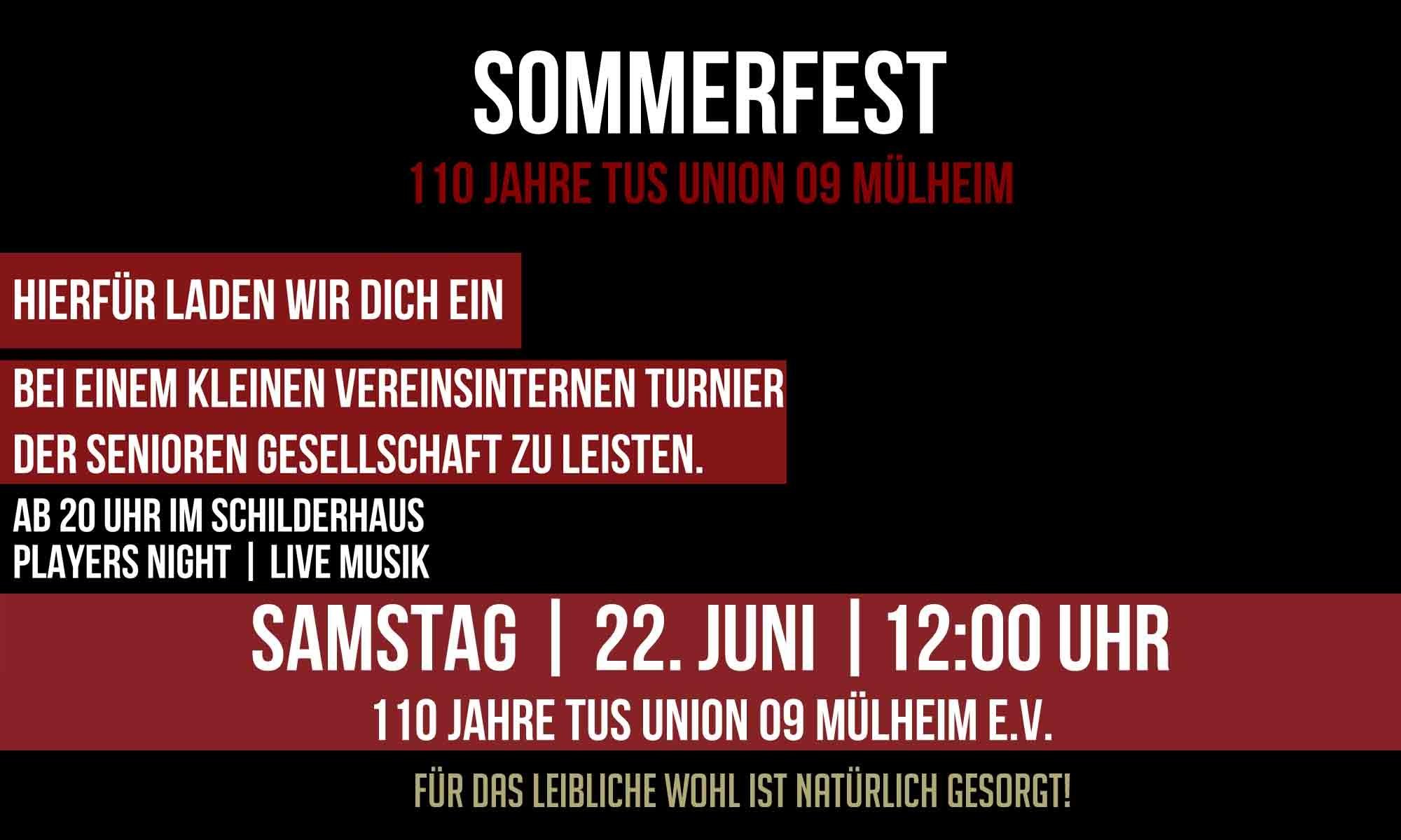 110 Jahre TuS Union 09 Mülheim! Feiert mit uns das Jubiläum!